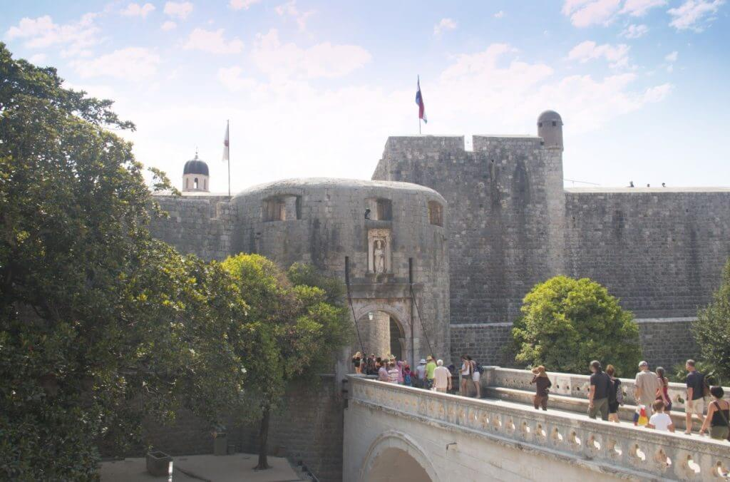 The main city gate and entrance to the city Dubrovnik in Croatia